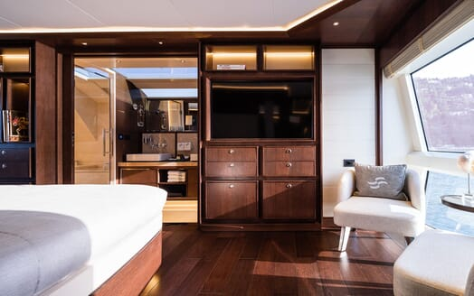 Motor Yacht MOANNA II Master Stateroom TV and Seating