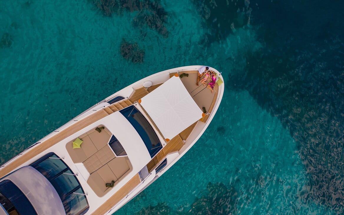 Motor Yacht NOOR II Bow Aerial Shot