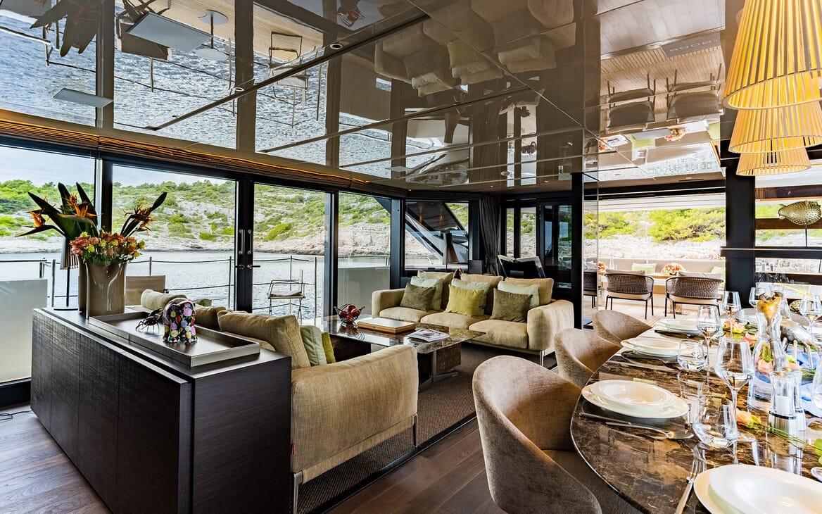 Motor Yacht NOOR II Main Saloon and Dining Table