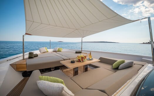 Motor Yacht NOOR II Bow Sun Pad and Seating