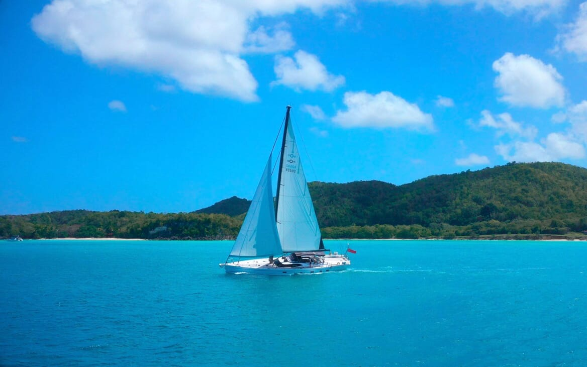 Sailing Yacht CHAMPAGNE HIPPY Underway with a view