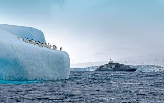 Motor Yacht SCENIC ECLIPSE Exterior With Iceberg and Penguins