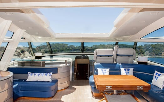 Motor Yacht SLIP AWAY upper deck lounge area with water views and cockpit