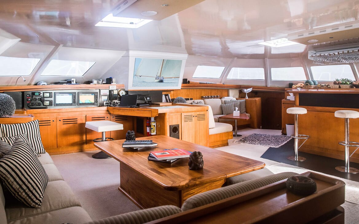 Sailing Yacht LONE STAR Main Saloon with Nav and Bar