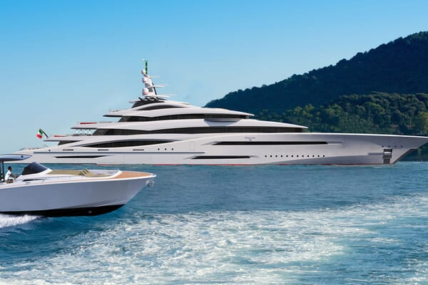 Motor Yacht CENTURY X Side Profile with Tender