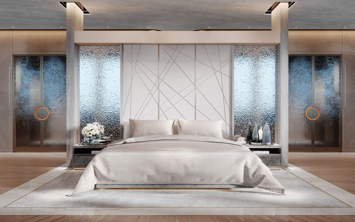 Motor Yacht CENTURY X Master Stateroom Bed