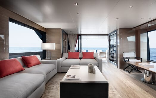 Motor Yacht REINE D AZUR Main Saloon to Aft Deck
