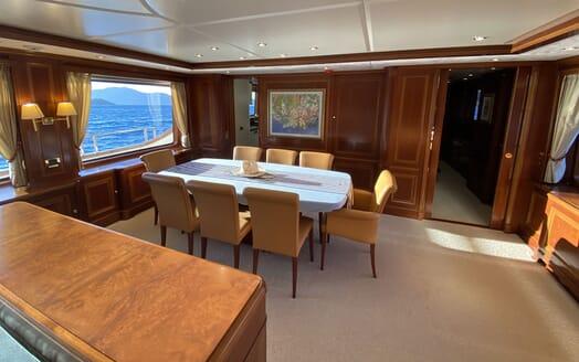 Motor Yacht TURK'S Main Deck Dining Table
