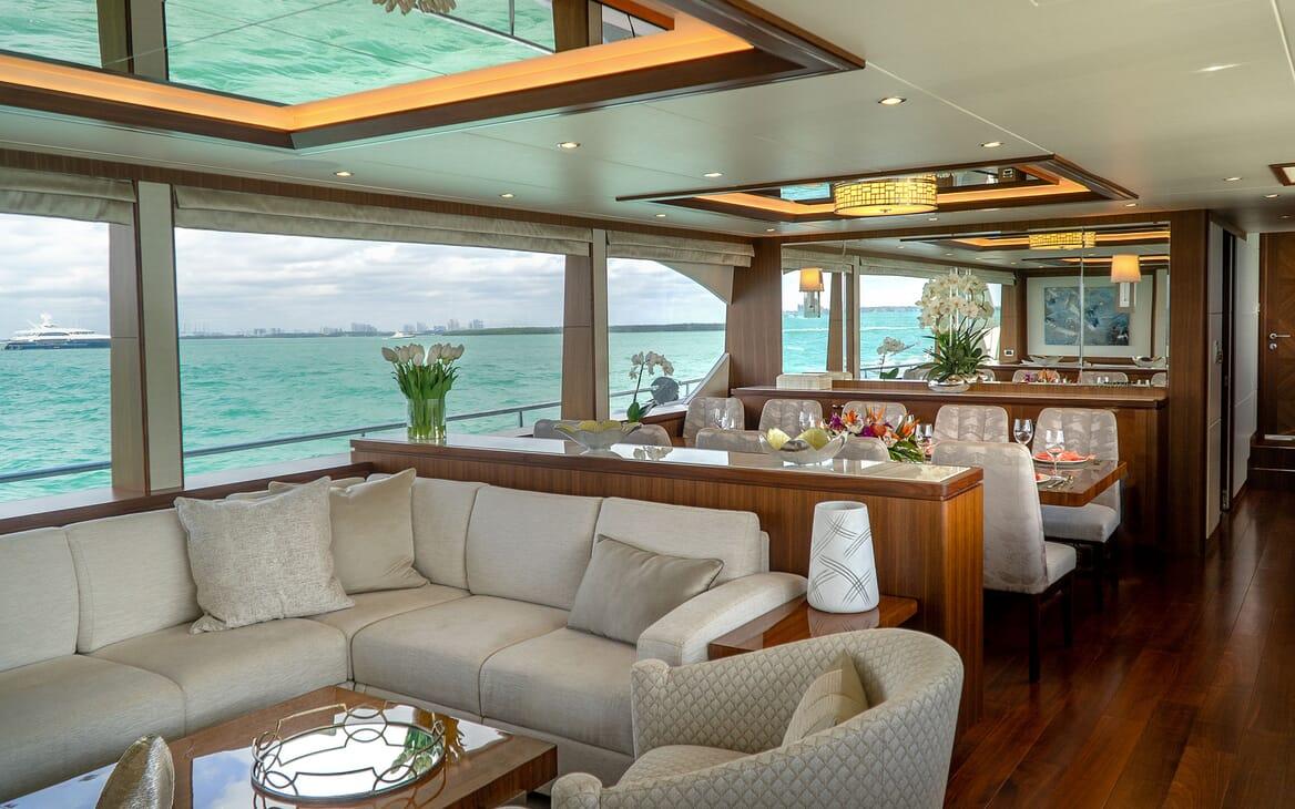 Motor Yacht ENTREPRENEUR 100 Main Deck Salon and Dining