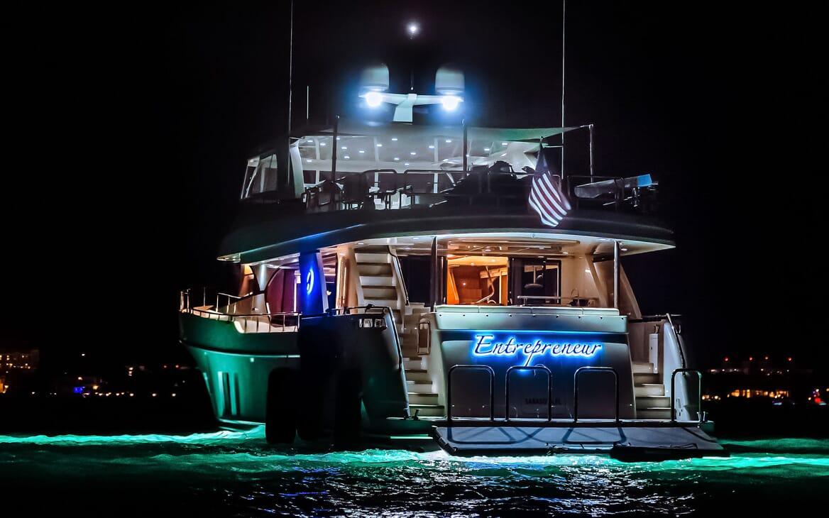 Motor Yacht ENTREPRENEUR 100 Exterior Nighttime Aft Shot