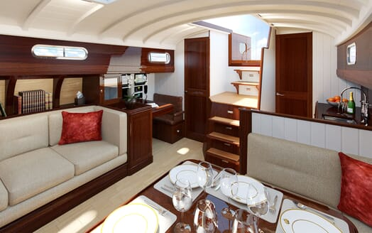Sailing Yacht FARILIE Seating and Dining Rendering