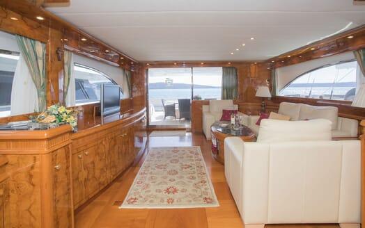 Motor Yacht LADY ADELHEID Main Deck Salon with TV