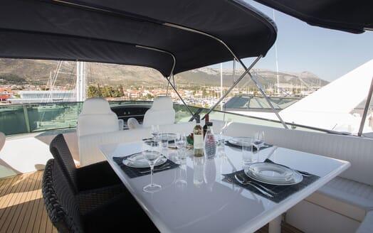 Motor Yacht LADY ADELHEID Sun Deck Dining Detail