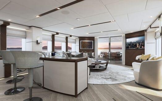 Motor yacht PROJECT SAPPHIRE Main Deck Salon and Bar