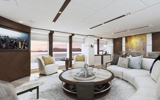 Motor yacht PROJECT SAPPHIRE Main Deck Salon TV