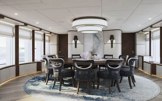 Motor yacht PROJECT SAPPHIRE Main Deck Dining Table