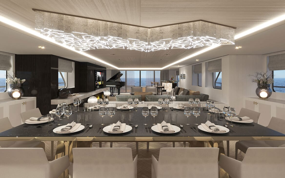 Motor Yacht PROJECT PN 116 Dining Table to Salon Render