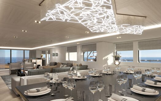 Motor Yacht PROJECT PN 116 Dining Table Light Feature Render