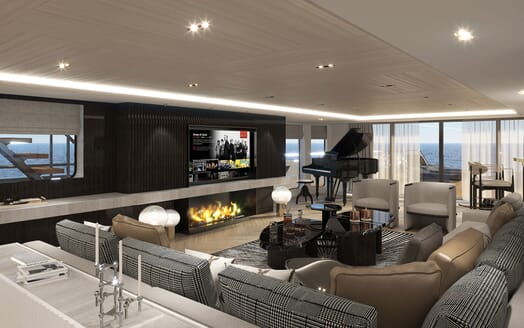 Motor Yacht PROJECT PN 116 Main Salon with Piano Render
