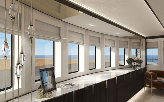 Motor Yacht PROJECT PN 116 Double Stateroom Windows Render