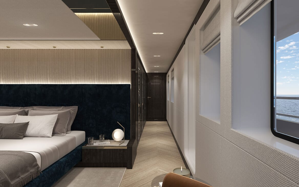 Motor Yacht PROJECT PN 116 Stateroom Hallway Render