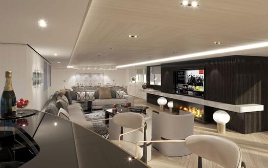 Motor Yacht PROJECT PN 116 Salon from Bar Render
