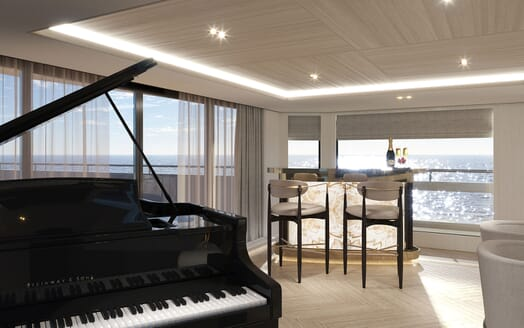 Motor Yacht PROJECT PN 116 Bar and Piano Render