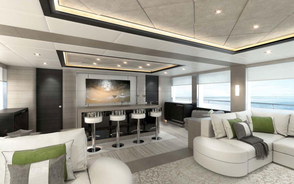 Motor Yacht MAJESTY 175 Main Salon and Bar