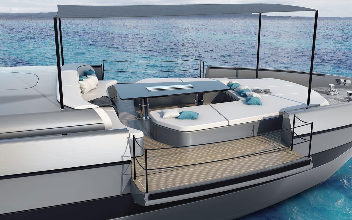 Motor Yacht OTAM CUSTOM RANGE 115 Bow Table and Sun Pads