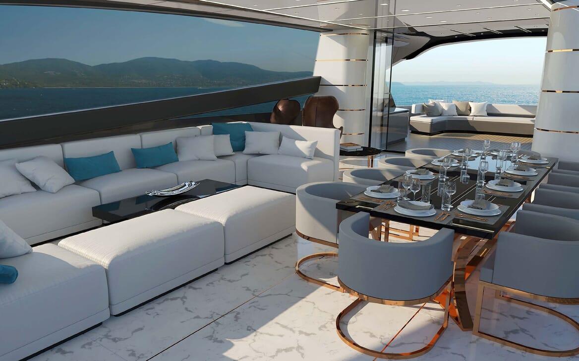 Motor Yacht OTAM CUSTOM RANGE 115 Dining Table Option 1