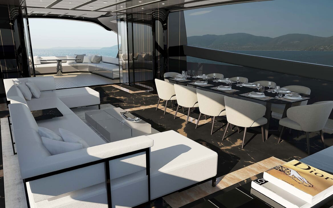 Motor Yacht OTAM CUSTOM RANGE 115 Dining Table Option 2