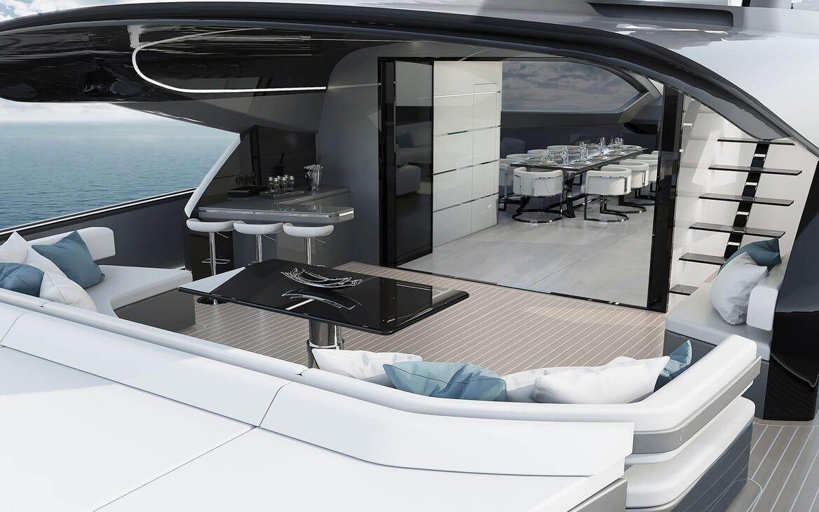 Motor Yacht OTAM CUSTOM RANGE 115 Aft Deck Table