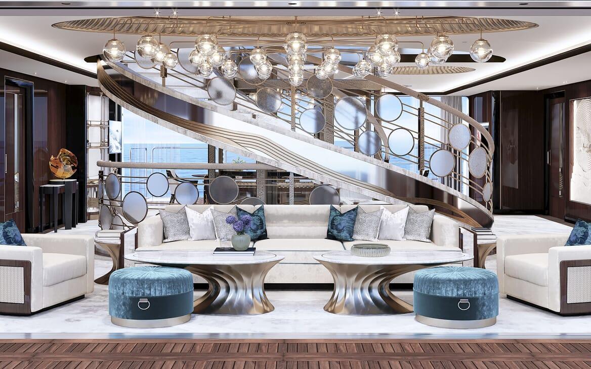 Motor Yacht VAST 72M Stairway Lounge