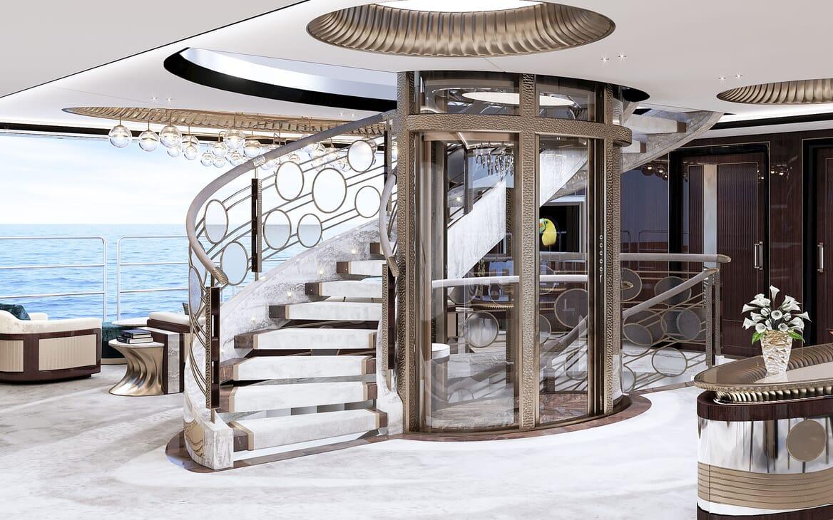 Motor Yacht VAST 72M Stairs and Elevator