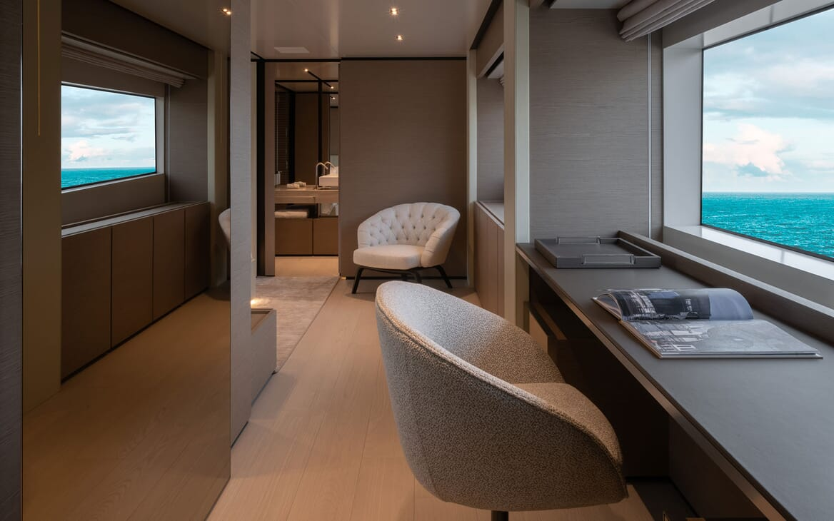Motor Yacht ADELIA Master Stateroom Desk