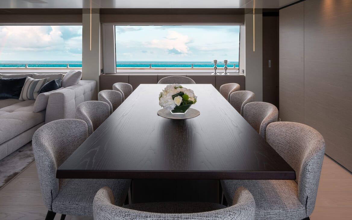 Motor Yacht ADELIA Main Deck Dining Table