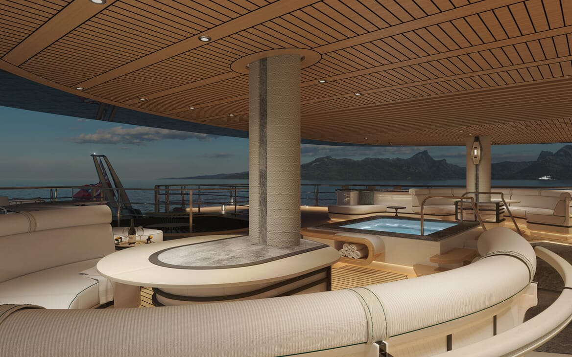 Sailing Yacht PROJECT SONATA Aft Deck with Jacuzzi