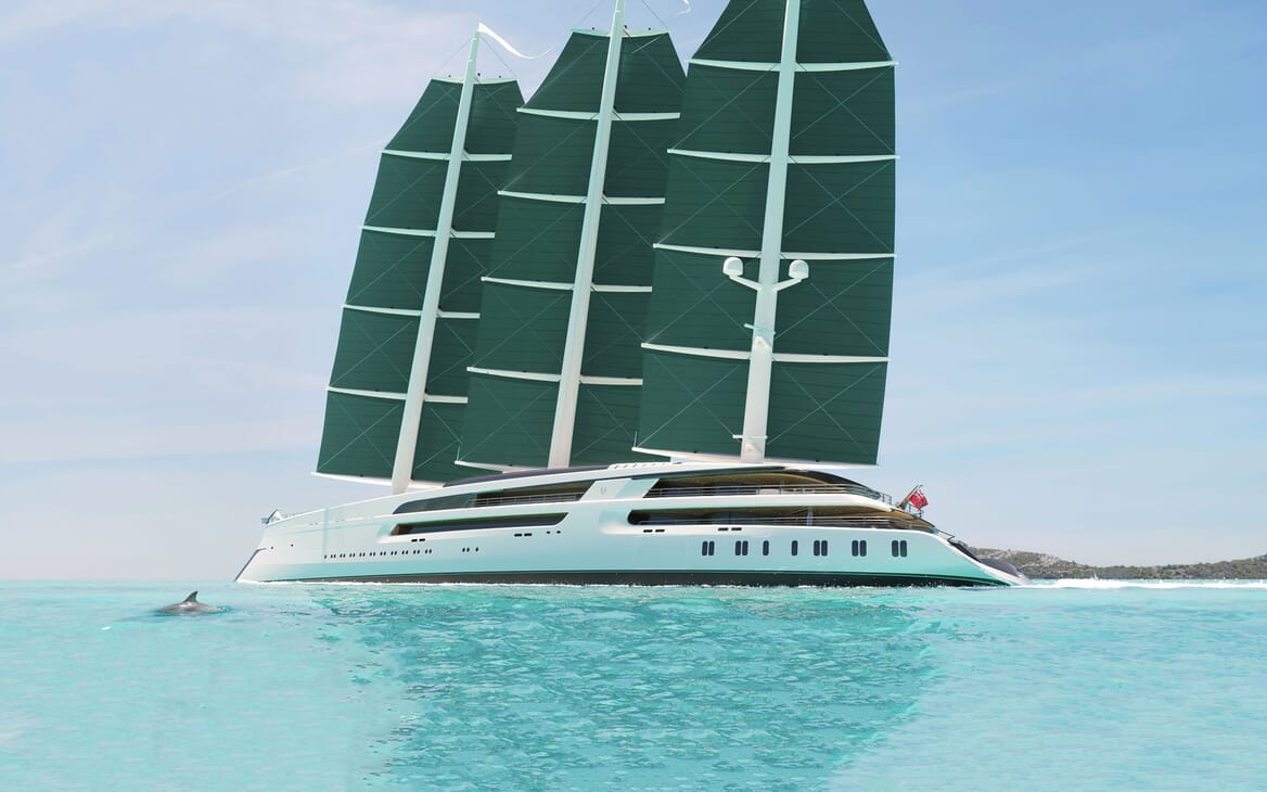 Sailing Yacht PROJECT SONATA Exterior Lit Up