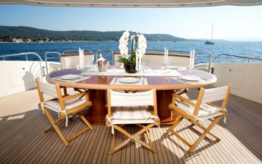 Motor Yacht BEIJA FLORE Aft Deck Dining