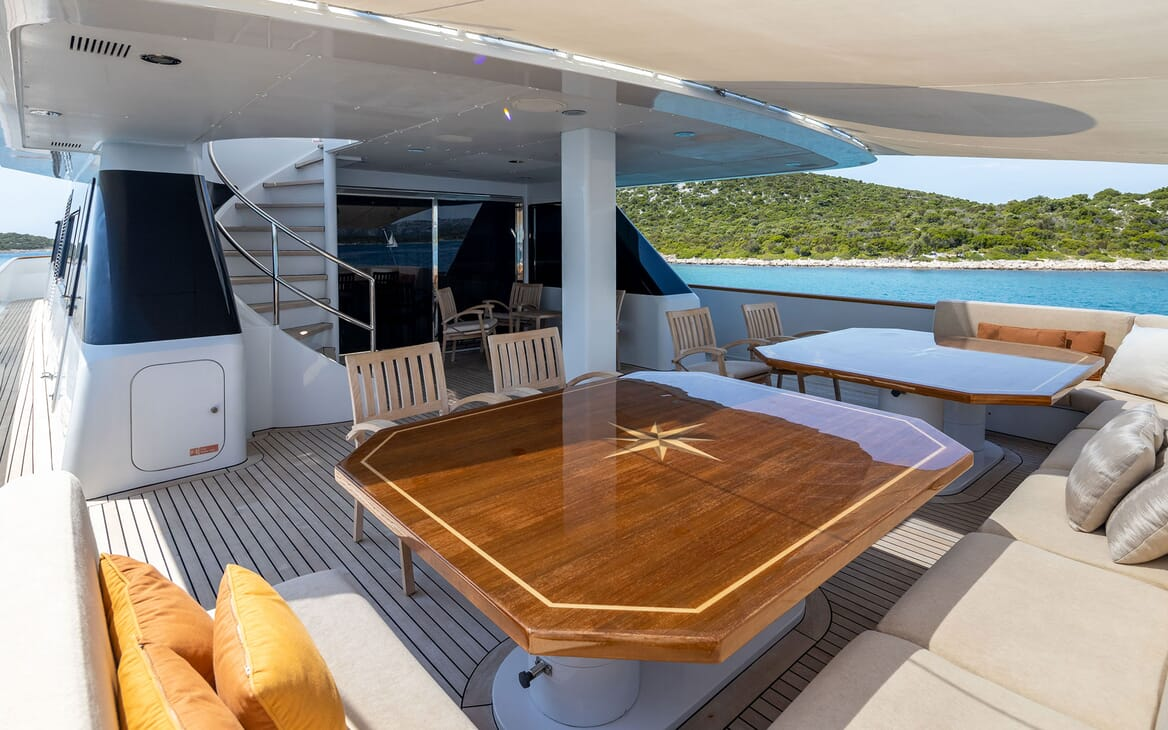 Motor Yacht LADYSHIP Aft Deck Tables and Seating