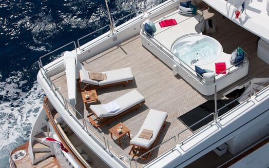 Motor yacht WHEELS I aerial deck shot of jacuzzi and sun loungers