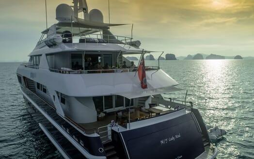 Motor Yacht LADY AZUL Aft Evening Dining