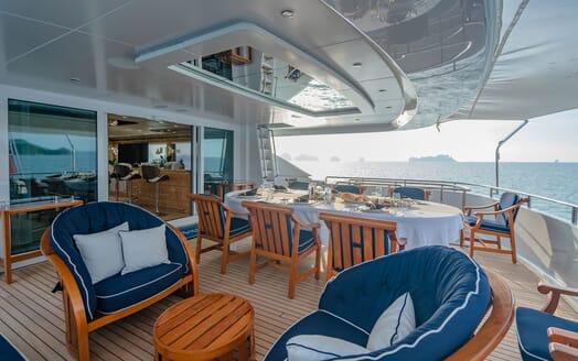 Motor Yacht LADY AZUL Aft Deck Dining Table