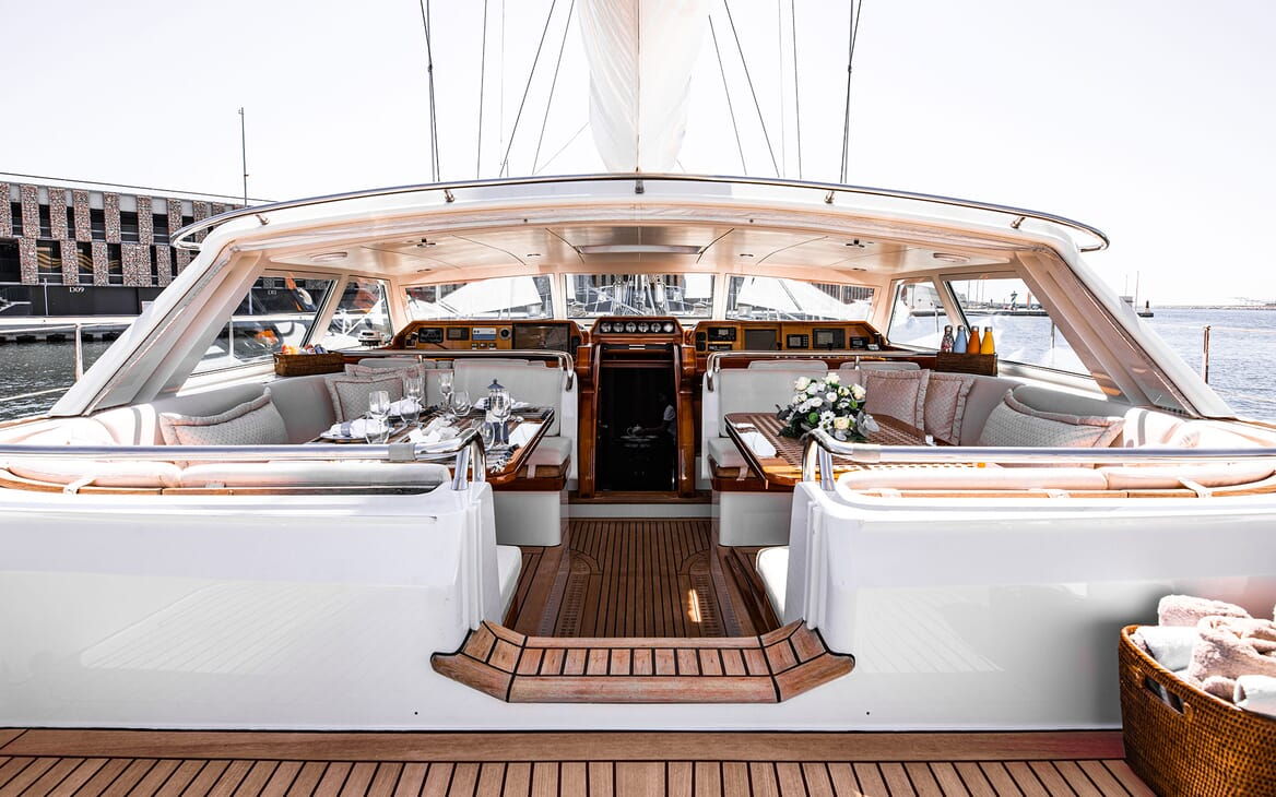 Sailing Yacht SCARENA Deck Dining Tables