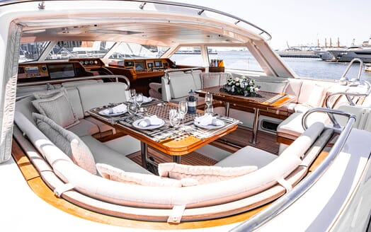 Sailing Yacht SCARENA Deck Dining Table Set Up