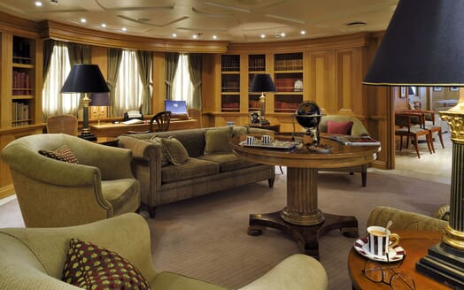 Motor Yacht CHRISTINA O Salon with Desk