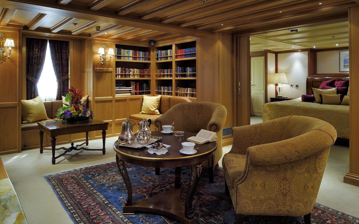Motor Yacht CHRISTINA O Master Statroom Library