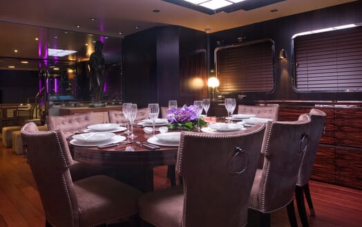 Motor Yacht Paolyre dining area