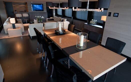 Motor Yacht Latitude dining area