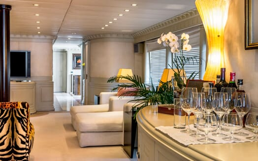 Motor yacht Superfun front room with cream carpet